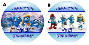 THE SMURFS PERSONALIZED ROUND LABELS BIRTHDAY PARTY STICKERS FAVORS SUPPLIES