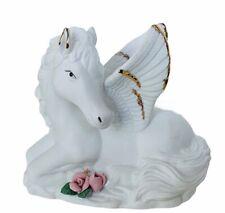 Pegasus Figurine vtg porcelain sculpture horse flower gold wing fantasy decor 1