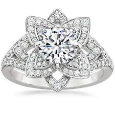 2.50Ct Round Brilliant Diamond Anniversary Engagement Ring Solid 14k White Gold