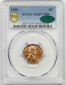 1939 1C PCGS/CAC MS 67 + RD Lincoln Wheat Penny