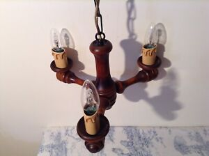 Vintage French Turned Wooden Farmhouse 3 Arm Chandelier Light (3990)