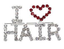 I LOVE HAIR Word Letter Heart Hairdresser Brooch Pin Beauty Salon Jewelry p46c