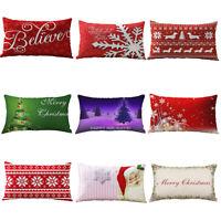 Christmas Tree Snowflake Santa Pillow Case Sofa Throw Cushion Cover Home Decor