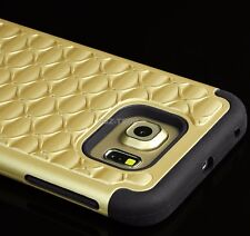 For Samsung Galaxy S6 - HARD & SOFT RUBBER HYBRID SKIN CASE GOLD DIAMOND BLING