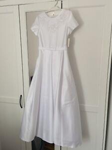 Girls White Communion Satin Long Dress Size Age 11-12