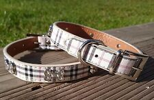 Dog Collar Puppy Coller Tartan Plaid Small Medium PU Leather Terrier Scottish UK
