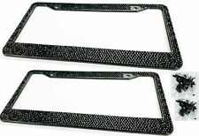 2 x Black Bling Diamond Crystal Glitter Metal License Plate Frame For Ford Chevy