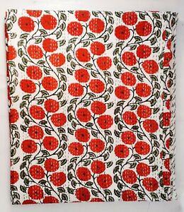 Floral Hand Block Print Indian Kantha Quilt Blanket Cotton Coverlet Bedding V