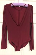 Blue Vanilla Ladies Burgundy Body Suit Top Low Cut Strap Front UK 14 Long Sleeve