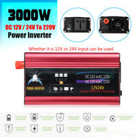 1500W 3000W Converter Car Power Inverter DC12V/24V to AC220~240V Modified   ✔☆