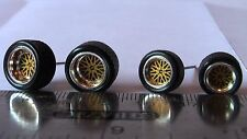 HOT WHEELS RUBBER TIRES SET  BBS TYPE GOLD 20 SPOKE NEW REAL RIDERS BIG & SMALL