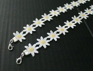 """Daisy Flower 1"""" Face Mask Lanyard White Handmade 24"""""""