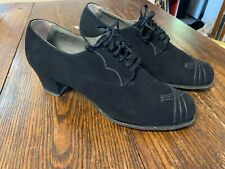 Nice Vintage High Heel Black Velvet Oxford Shoes size 10B True Vintage