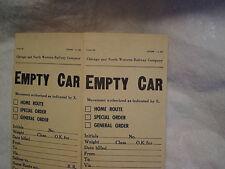 2-1959 CHICAGO & NORTHWESTERN RAILROAD EMPTY CAR FORMS,SLIPS,Train,bill,gen.supt