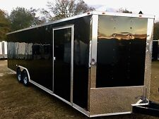 8.5X24 V-NOSE ENCLOSED CAR HAULER TRAILER 5200 LB AXLES 1 PC ROOF RADIAL TIRES
