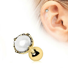 Gold Plated Pearl Crown CARTILAGE EAR Bar Barbell Earring Ring Piercing Jewelry