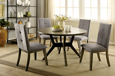Solid Wood 5 Piece Mid Century Round Dinning Table Set 4 Fabric Side Chairs