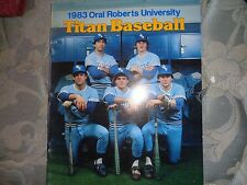 1983 ORAL ROBERTS UNIVERSITY TITANS BASEBALL MEDIA GUIDE Titan Yearbook ORU AD