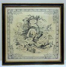 Antico fazzoletto di seta al Pescatore's Companion Isaac Walton pesca pesce stampa