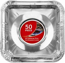 Gas Burner Liners (50 Pack) Disposable Aluminum Foil Square Stove Burner Covers