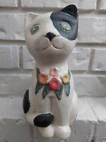 """vintage handpainted folk art cat big figurine 9"""" tall"""
