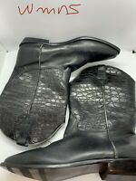 Ipanema Black Leather Pull On Croc Embssd Pointy Toe Riding Boots Womens Size 10