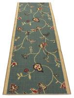 Custom Size Antibacterial Floral Blue Non Skid Runner Rug Rugs Flowers Runners