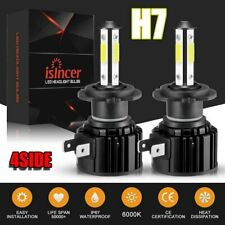 Pair 4-sides  H7 LED Headlight bulb 2400W 6000K 360000LM Replacement Bulb JO