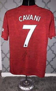 Signed Edinson Cavani Manchester United 20/21 Home Shirt Proof Uruguay