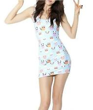 Sexy bodycon midi dress panda & Cat head  printed vest dress sleeveless dress