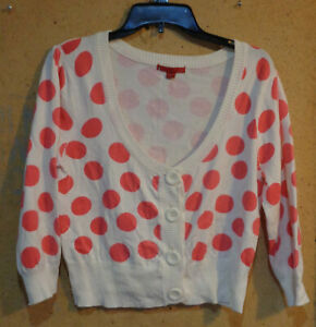 liv White Red Polka Dot Scoop Neck Cropped XL Long Sleeve Sweater Cardigan Shrug