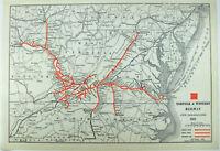 Norfolk & Western Railway - Original 1926 Route Map. Vintage Railroad