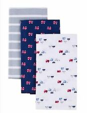 New Gerber Newborn Baby Boy Flannel Burp Cloths, 3-PackTruck