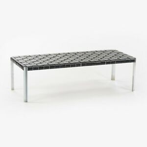 1950s Erwine & Estelle Laverne Woven Black Leather Bench Laverne International