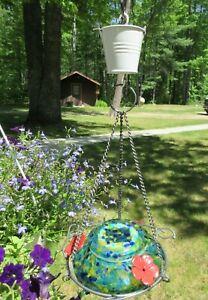 Handmade Ant Moat Guard for Hummingbird or Oriole feeder. A cute white bucket.