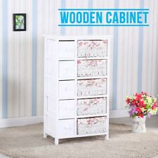Modern White Wooden Cabinet Storage With 5 Drawers 5 Wicker Baskets Bedroom