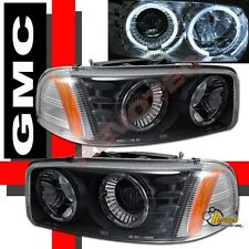 2000-2006 GMC Yukon XL Sierra Denali Black Halo Projector Headlights RH + LH