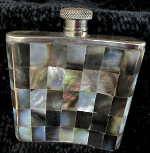 Beautiful Mother of Pearl Inlay And Metal Alloy Whiskey Liquor Bottle