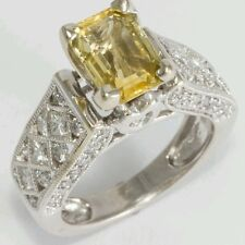 Yellow Natural Sapphire and Diamond Ring. 2.97 TCW. IGI Cert