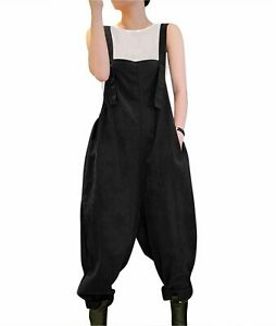 YESNO Women Casual Loose Bib Pants Overalls Baggy Cotton, D Black, Size Small