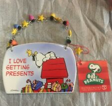 Snoopy Woodstock I Love Getting Presents Ceramic Christmas Plaque Ornament New