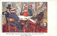 """John Bull plays """"Commerce"""" game, mirror, Free Trade, Political Satire Caricature"""