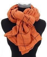 Schal orange terracotta schwarz Ella Jonte weicher breiter Schal Viskose unisex
