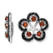 Platinum Sterling Silver Black Sapphire Red Garnet Halo Earring Jackets For Stud