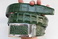 Without Jointed - Green Genuine Crocodile Leather SKIN Men's Belt-W 1.5 inch