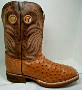 Justin Mens Cognac Full Quill Ostrich Made in USA Western Boots BB2100 size 12 D