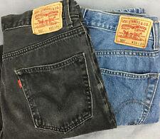 Lot Of 2 Used Levis Black And Medium Wash 505 550 Denim Jeans Mens Sz 33x34