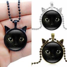 Steampunk Necklace Black Cat Face Photo Cabochon Glass Bronze Pendant Long Chain