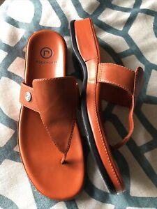 Rockport Flip Flop Sandals Women's Orange Leather Slip On - US 7 1/2