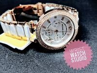 Michael Kors MK5774 Rose Gold White Chronograph Parker Genuine 3 Year Warranty